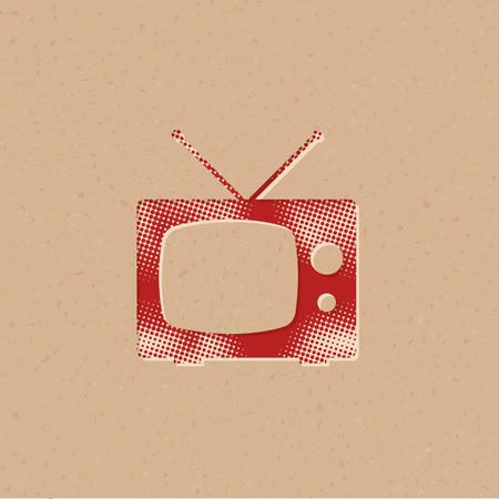 Television icon in halftone style. Grunge background vector illustration. Imagens - 111971161