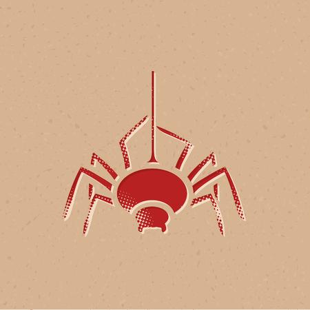 Spider icon in halftone style. Grunge background vector illustration.