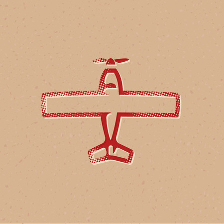 Vintage Airplane icon in halftone style. Grunge background vector illustration.