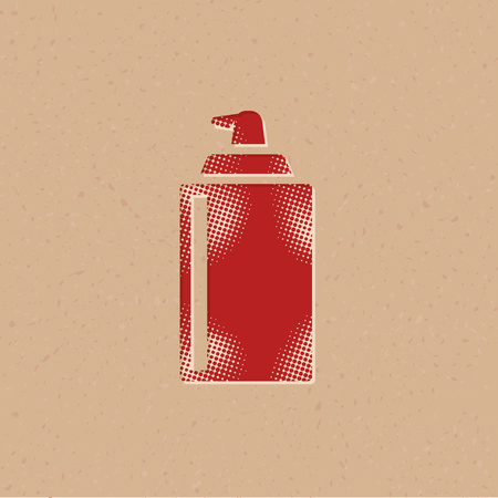Liquid spray icon in halftone style. Grunge background vector illustration. Çizim