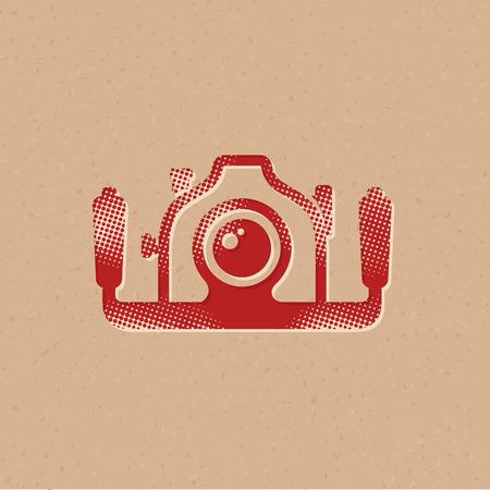 Underwater camera icon in halftone style. Grunge background vector illustration.