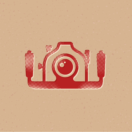 Underwater camera icon in halftone style. Grunge background vector illustration.