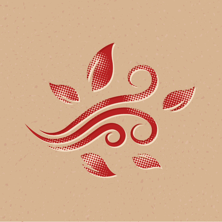 Blowing leaves icon in halftone style. Grunge background vector illustration. Vectores