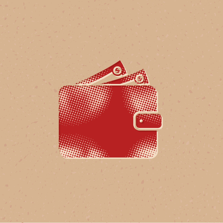 Wallet icon in halftone style. Grunge background vector illustration.