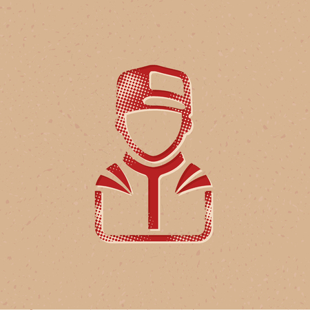 Racer avatar icon in halftone style. Grunge background vector illustration.