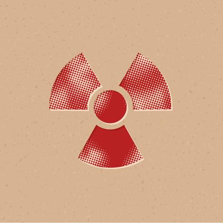 Radioactive symbol icon in halftone style. Grunge background vector illustration.