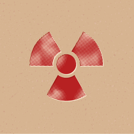 Radioactive symbol icon in halftone style. Grunge background vector illustration.