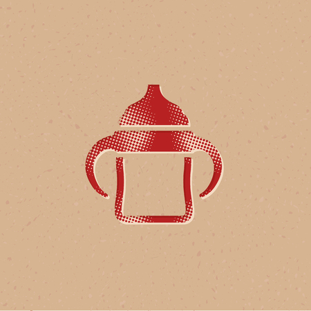 Milk bottle icon in halftone style. Grunge background vector illustration. Ilustração