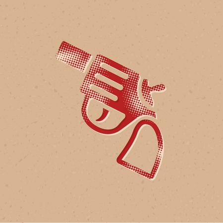 Revolver gun icon in halftone style. Grunge background vector illustration. Illustration