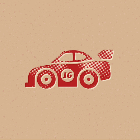 Race car icon in halftone style. Grunge background vector illustration. 写真素材 - 111971264