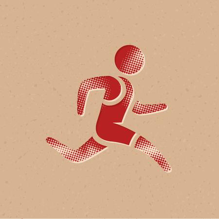 Laufsportikone im Halbtonstil. Grunge-Hintergrund-Vektor-Illustration. Vektorgrafik
