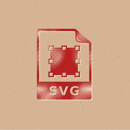 SVG file icon in halftone style. Grunge background vector illustration. Illustration