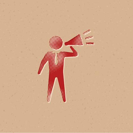 Businessman loudspeaker icon in halftone style. Grunge background vector illustration.