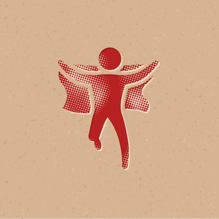Icono de velocista ganador en estilo de semitono. Ilustración de vector de fondo grunge.