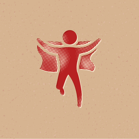 Wining sprinter icon in halftone style. Grunge background vector illustration.