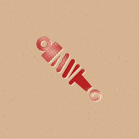 Shock absorber icon in halftone style. Grunge background vector illustration.