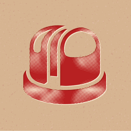 Earth telescope icon in halftone style. Grunge background vector illustration.