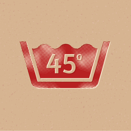 Washing temperature icon in halftone style. Grunge background vector illustration.