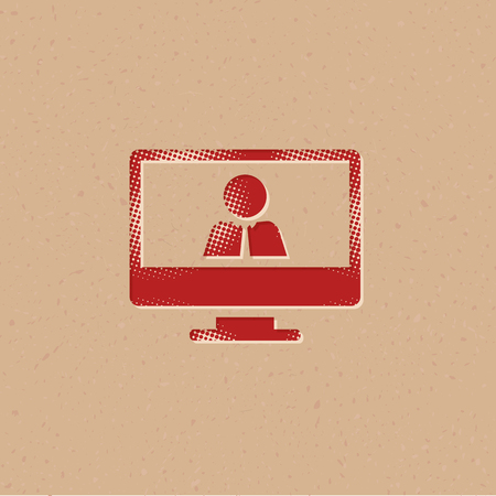 Computer chat icon in halftone style. Grunge background vector illustration. Vetores