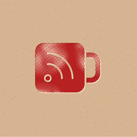 Cup icon with RSS symbol in halftone style. Grunge background vector illustration.