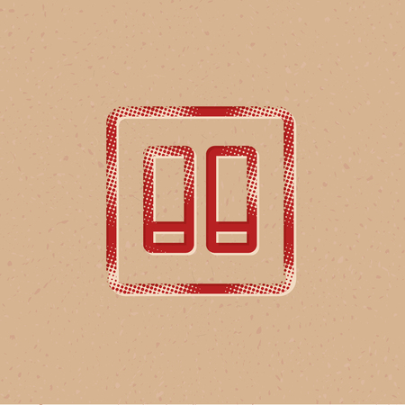 Electric switch icon in halftone style. Grunge background vector illustration.