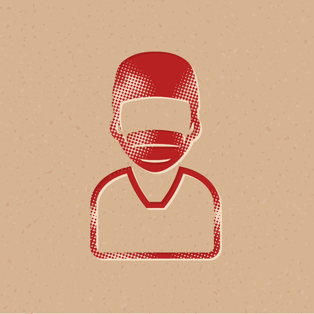 Surgeon icon in halftone style. Grunge background vector illustration.