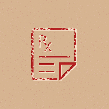 Medical prescription icon in halftone style. Grunge background vector illustration. Ilustracja