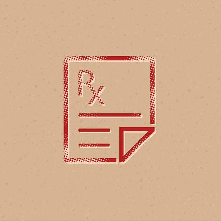 Medical prescription icon in halftone style. Grunge background vector illustration. Illustration