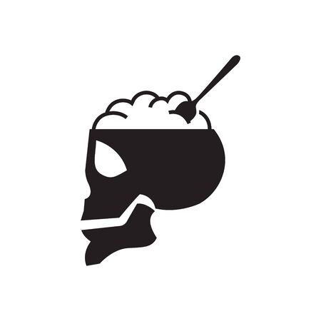 Human skull as food bowl icon in black and white. Magic potion. Vector illustration.