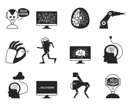 Artificial intelligence concept icons in black and white. Industrial technology vector illustration. Ilustração