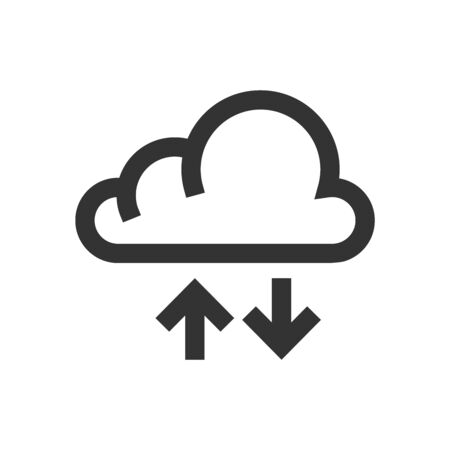 Cloud icon with arrows in thick outline style. Black and white monochrome vector illustration. Çizim