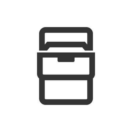 Office cabinet icon in thick outline style. Black and white monochrome vector illustration.