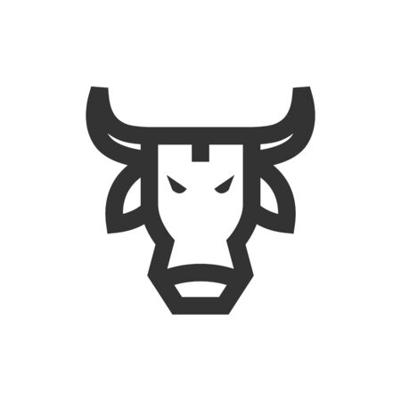 Bullish icon in thick outline style. Black and white monochrome vector illustration.