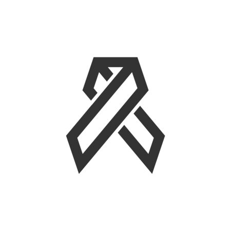 Awareness band icon in thick outline style. Black and white monochrome vector illustration.