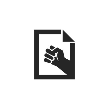 Hand fist icon in thick outline style. Black and white monochrome vector illustration.
