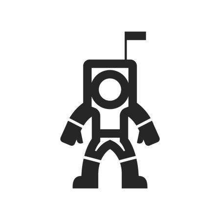 Astronaut icon in thick outline style. Black and white monochrome vector illustration.