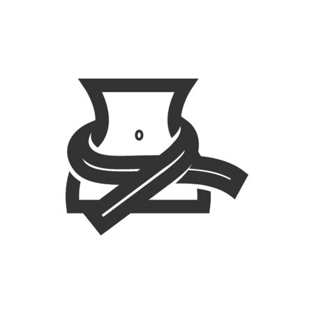 Measure tape icon in thick outline style. Black and white monochrome vector illustration.