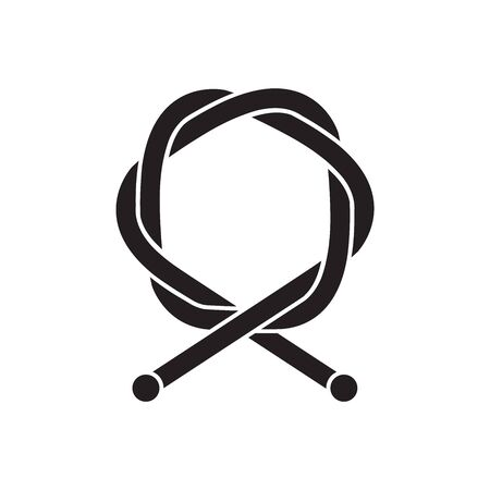 Bicycle cable icon in thick outline style. Black and white monochrome vector illustration.