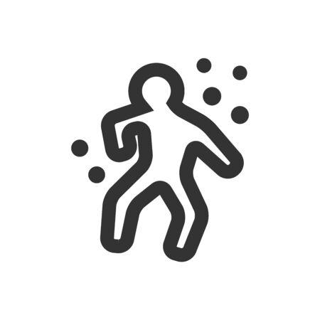 Misdaadslachtoffer icoon in dikke kaderstijl. Zwart-wit monochroom vectorillustratie.