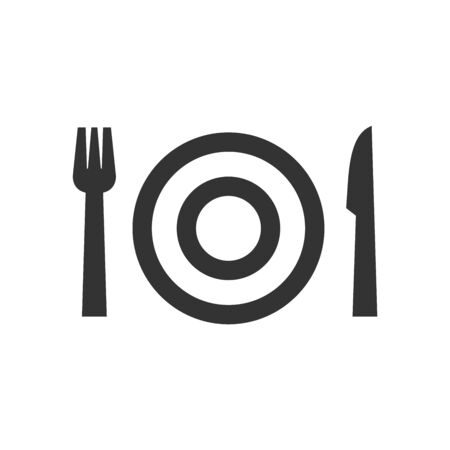 Dishes icon in thick outline style. Black and white monochrome vector illustration.