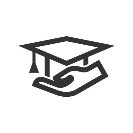 Hand mit Diplom-Symbol im dicken Umriss-Stil. Schwarz-Weiß-Monochrom-Vektor-Illustration. Vektorgrafik