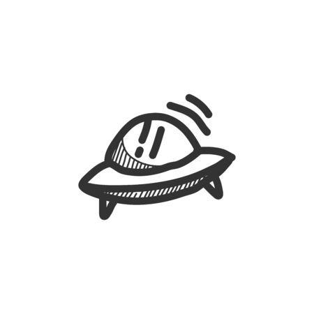 Flying saucer icon in sketch style. Hand drawn vector illustration.