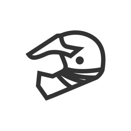 Motorcycle helmet icon in thick outline style. Black and white monochrome vector illustration. Ilustração