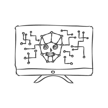 Artificial intelligence concept icon in sketch style. Computer displaying electronic circuit brain. Vector illustration.