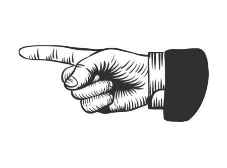 Señalar el dedo índice en el estilo de dibujo retro