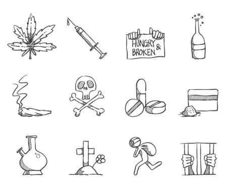 Drugs and narcotics icons in sketch style. Vector hand drawn doodle. Illustration