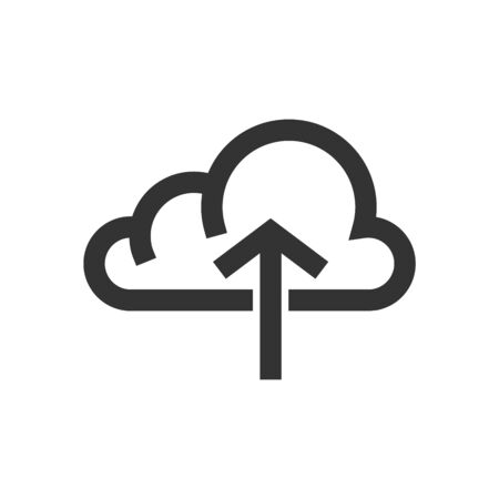Cloud upload icon in thick outline style. Black and white monochrome vector illustration.