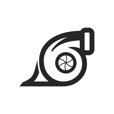 Turbo charger icon in thick outline style. Black and white monochrome vector illustration. Illustration