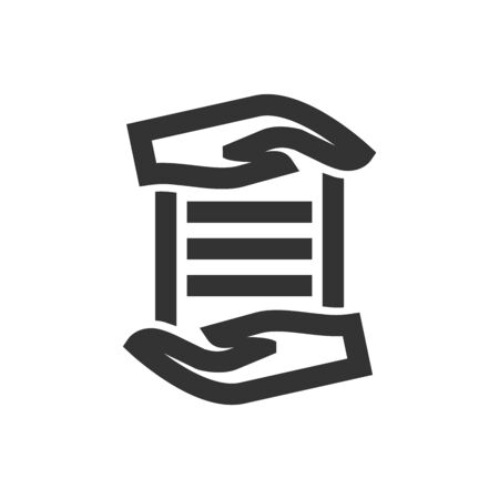 Data protection icon in thick outline style. Black and white monochrome vector illustration.