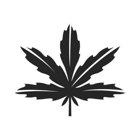 Marijuana icon in black and white. Vector illustration.